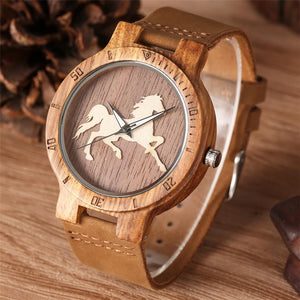 Wooden Horse Watch - Quartz Watches - PurpliKi