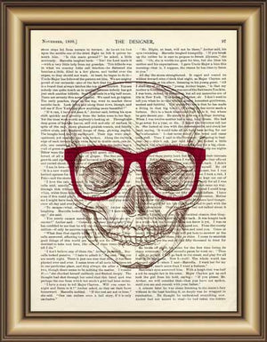 Hipster Skull Book Page Wall Art - Painting & Calligraphy - PurpliKi