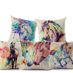 Horse Watercolor Painting Series - Cushion Covers - Cushion Cover - PurpliKi