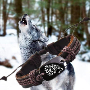 Tribal Wolf Leather Bracelet - Charm Bracelets - PurpliKi