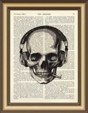 Skull Earphone Book Page Wall Art - Painting & Calligraphy - PurpliKi