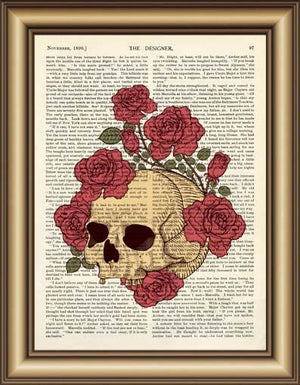 Skull Rose Vintage Book Page Wall Art - Painting & Calligraphy - PurpliKi