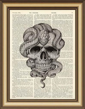 Skull With Snake Book Page Wall Art - Painting & Calligraphy - PurpliKi