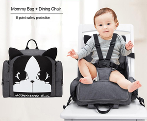 Portable High Chair Seat and Diaper Bag Combo - Booster Chair - PurpliKi