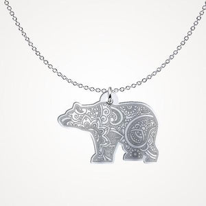 Mandala Bear - Silver Necklace - pendant - PurpliKi