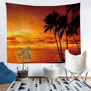 Wall Tapestry - Ocean Sunset Beach Palm Tree Hanging Tapestry - Tapestry - PurpliKi