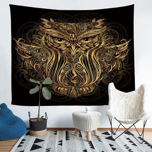 Wall Tapestry - Owl Animal Gold Hanging Tapestry - Tapestry - PurpliKi