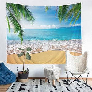 Wall Tapestry - Scenic Beach Palm Tree Hanging Tapestry - Tapestry - PurpliKi