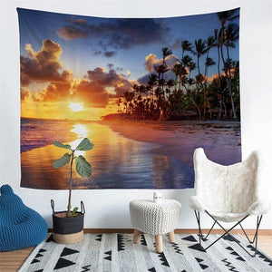 Wall Tapestry - Scenic Beach Sunset Palm Tree Hanging Tapestry - Tapestry - PurpliKi