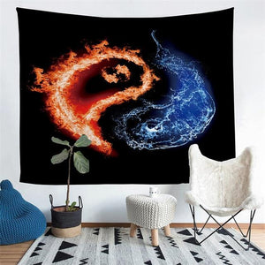 Wall Tapestry - Yin Yang Fire Water Pices Hanging Tapestry - Tapestry - PurpliKi
