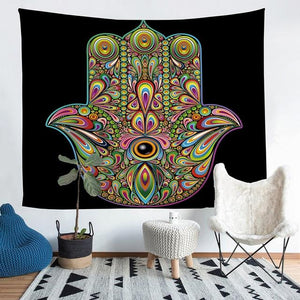 Wall Tapestry - Hamsa Hand Colorful Hanging Tapestry - Tapestry - PurpliKi