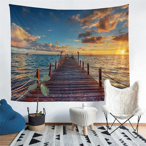 Wall Tapestry - Scenic Ocean Pier Hanging Tapestry - Tapestry - PurpliKi