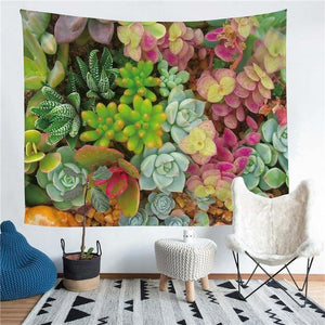 Wall Tapestry - Succulent Cactus Plants Hanging Tapestry - Tapestry - PurpliKi