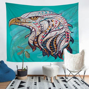Wall Tapestry - Bald Eagle Animal Green Hanging Tapestry - Tapestry - PurpliKi