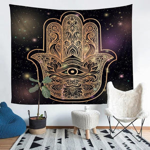 Wall Tapestry - Hamsa Hand Gold Eye Hanging Tapestry - Tapestry - PurpliKi