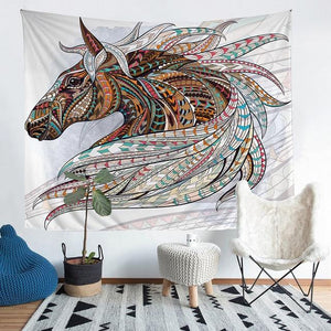 Wall Tapestry - Tribal Horse Animal Colorful Boho Hanging Tapestry - Tapestry - PurpliKi