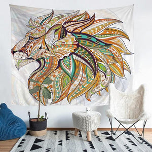 Wall Tapestry - Tribal Lion Animal Colorful Boho Hanging Tapestry - Tapestry - PurpliKi