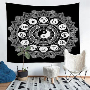 Wall Tapestry - Yin Yang Zodiac Black and White Hanging Tapestry - Tapestry - PurpliKi