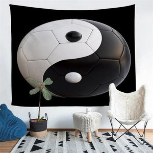 Wall Tapestry - Yin Yang Soccer Ball Hanging Tapestry - Tapestry - PurpliKi