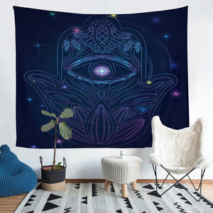 Wall Tapestry - Hamsa Hand Purple Psychedelic Hanging Tapestry - Tapestry - PurpliKi