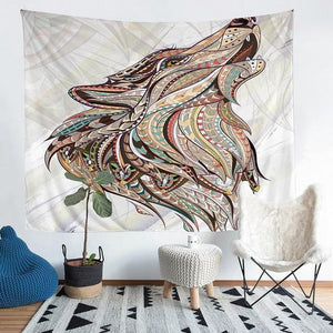 Wall Tapestry - Tribal Wolf Animal Colorful Boho Hanging Tapestry - Tapestry - PurpliKi