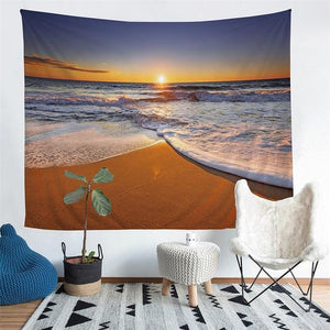 Wall Tapestry - Ocean Beach Sunrise Hanging Tapestry - Tapestry - PurpliKi
