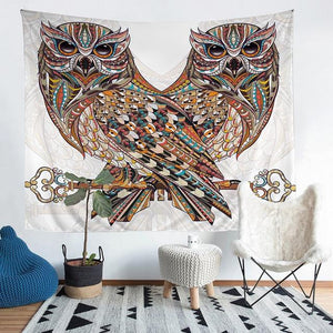 Wall Tapestry - Owl Animal Colorful Mosaic Hanging Tapestry - Tapestry - PurpliKi