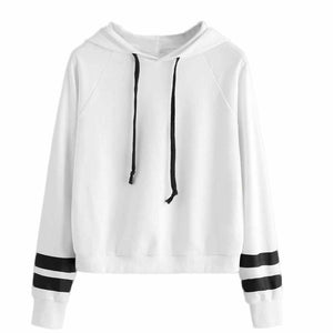 69987f2e1fc8f3 Black and white Women Hoodie Sweatshirt Jumper Sweater Crop Top Pullover  Tops