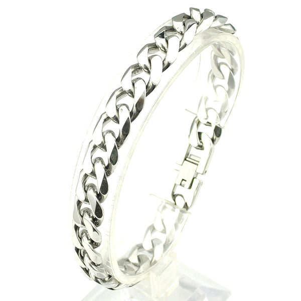 10mm Thick Silver Steel Curb Bracelet 21cm