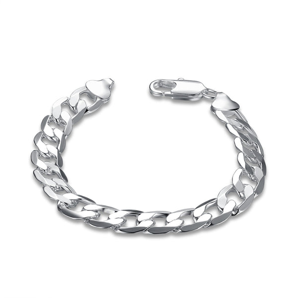 10mm Thick Silver 925 Curb Chain Bracelet 20cm Length