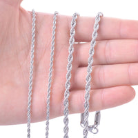 "4mm Silver Steel Rope Chain Necklace 20"" to 26"""