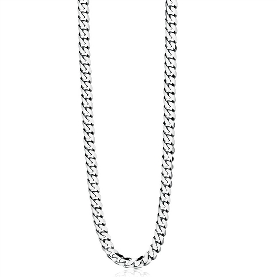 "4mm Silver Steel Curb Chain Necklace 16"" to 36"""