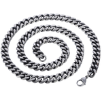 "8mm Thick Silver Steel Curb Chain Necklace 16"" to 40"""