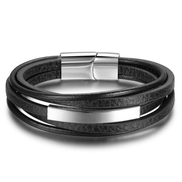 Multilayer Black Leather Bracelet With Stainless Steel Clasp 22cm