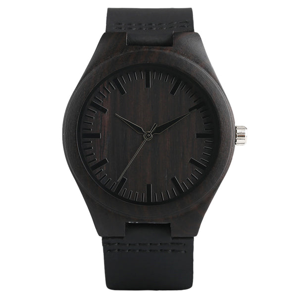 Black Bamboo Wood and Leather Minimal Watch