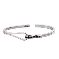 Steel Open Cuff Bangle with Black Diamond Stones
