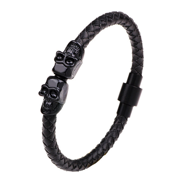 Double Skull Leather Cuff Bracelet