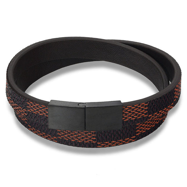 Handmade Wide Cuff Checkered Leather Bracelet