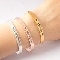 Carpe Diem Steel Cuff Bangle