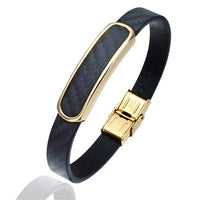 Chequered Leather Bracelet With Stainless Steel Clasp