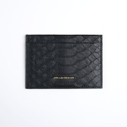 Hiram Beron Unisex Python and Lambskin Leather Card Holder Wallet