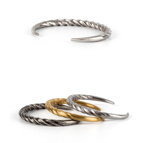 Twisted Horn Steel Cuff Bangle