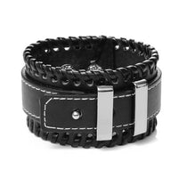 Leather Wide Cuff Belt Buckle Bracelet
