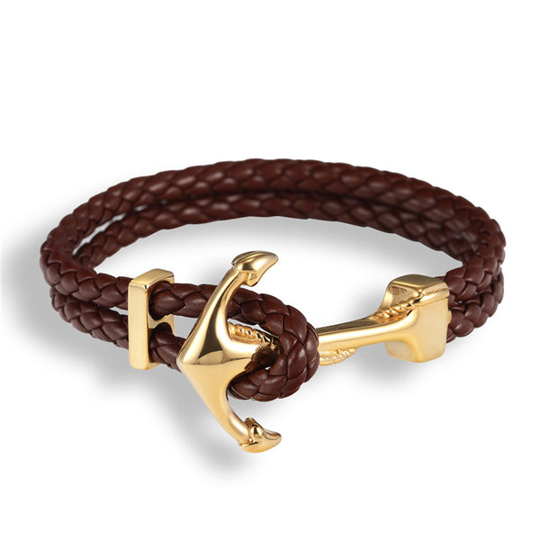 Handmade Braided Vintage Leather Anchor Bracelet