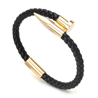 Black Leather Weave Nail Bracelet With Magnetic Clasp