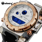Luxury Dual Movement Rose Gold Military Watch With Dual Display