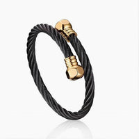 Black and Gold Twisted Rope Steel Wire Bangle
