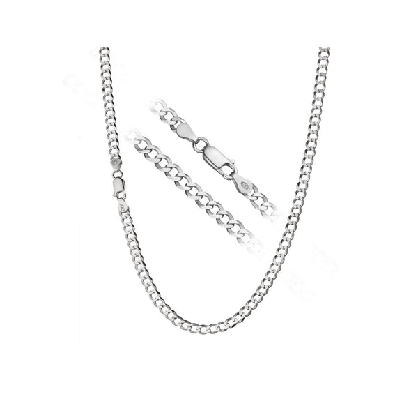 "4mm Silver 925 Curb Chain Necklace 16"" to 30"""