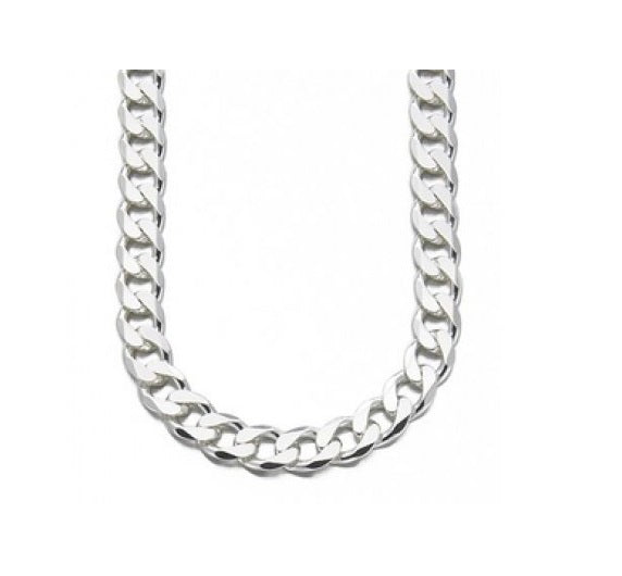 12mm Thick Silver 925 Curb Chain Necklace 20""