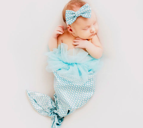 Shimmery Mermaid Headband Set with Tail